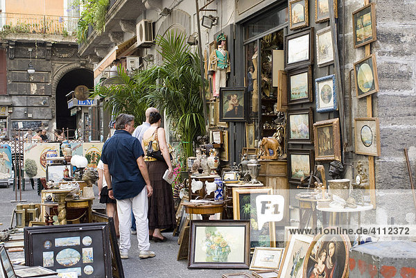 Antiques shop in the historic centre of Naples  Campania  Italy