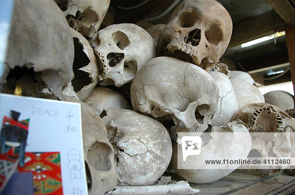 Choeung Ek or the Killing Fields  one of the most sorrowful places in Cambodia  approximately 8000 skulls of victims stored in a mausoleum behind glass  Phnom Penh  Cambodia  Southeast Asia