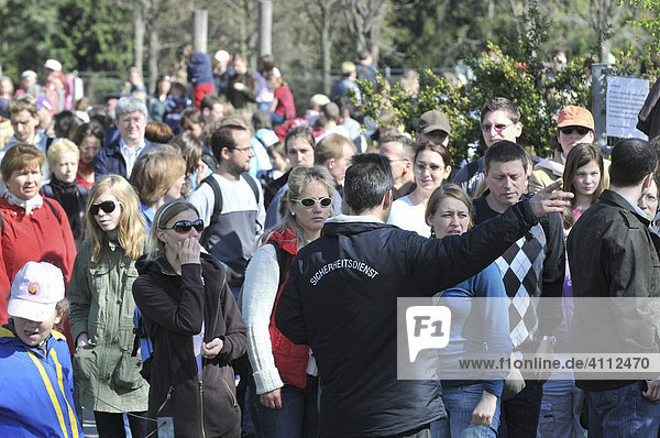 Zoo visitors primarily to see the polar bear cub named Wilbaer  security services ensuring order  Wilhelma Zoo in Stuttgart  Baden-Wuerttemberg  Germany  Europe
