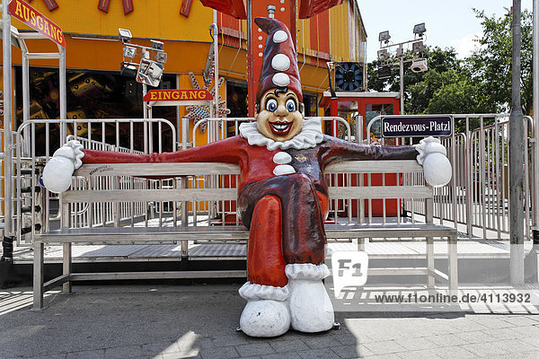 Clown figure sitting at the rendezvous spot in the Prater  Vienna  Austria