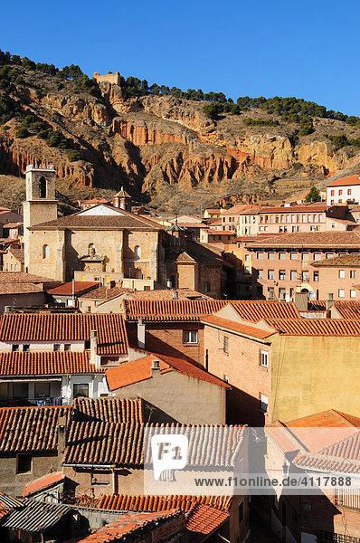 View of the village and Iglesia de Santa María de los Corporales church in Daroca  Zaragoza Province  Aragón  Spain  Europe