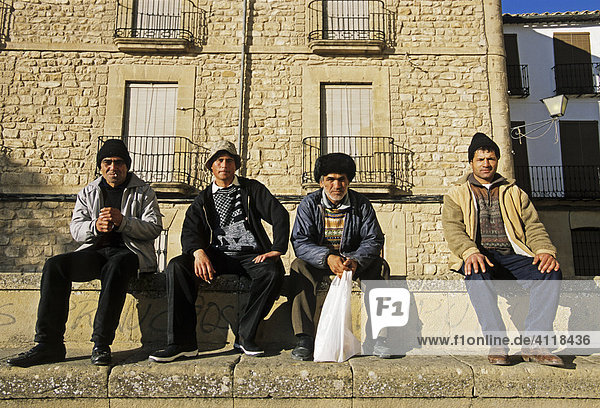 Foreign workers from Eastern Europe in Ubeda  Jaen province  Andalusia  Spain  Europe