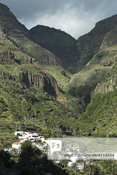 Häuser an den Terrassen des Valle Gran Rey  Insel La Gomera  Kanarische Inseln  Spanien  Europa Insel La Gomera