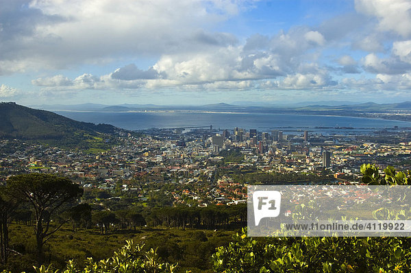 View from the base station of the Table Mountain Aerial Cableway  Cape Town  South Africa