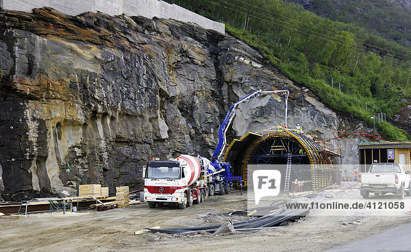 Tunnel construction site  Rogaland  Southern Norway  Norway  Scandinavia  Europe