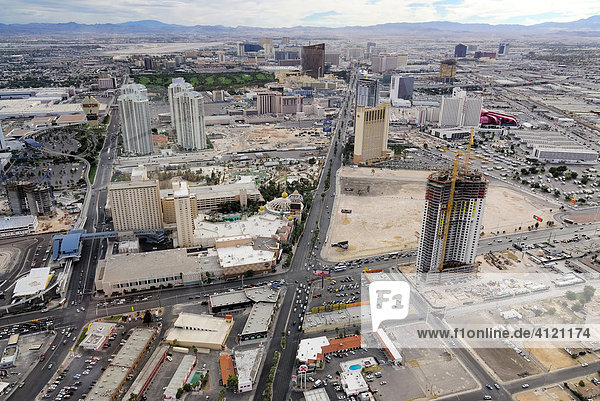 Construction sites along the strip viewed from Stratosphere Tower  Las Vegas Boulevard  Las Vegas  Nevada  USA  North America