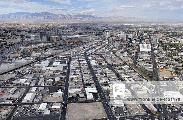 Residential area viewed from Stratosphere Tower  Las Vegas Boulevard  Las Vegas  Nevada  USA  North America