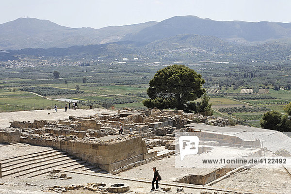 Steps  Phaistos Palace ruins from the Minoan period  Crete  Greece  Europe