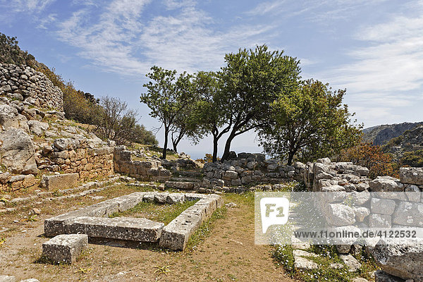 Assembly room  ruins dating to the fifth century BC (Doric period)  Lato  Crete  Greece  Europe