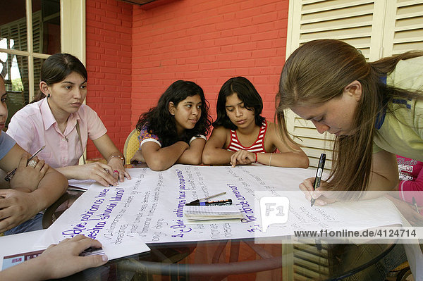 Schoolgirls during project work  Asuncion  Paraguay  South America