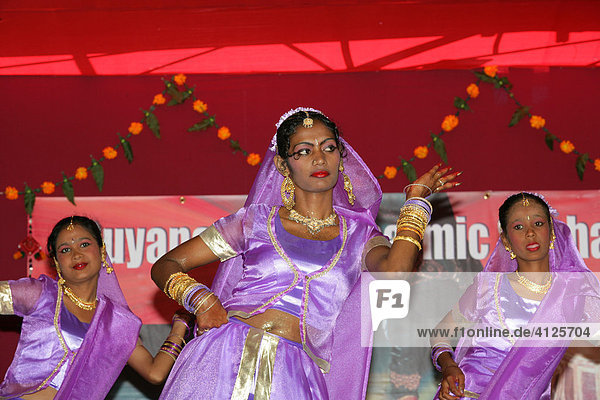 Traditional Indian dancers at a Hindu Festival in Georgetown  Guyana  South America