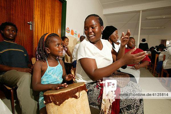 Children drumming  Gaborone  Botswana  Africa