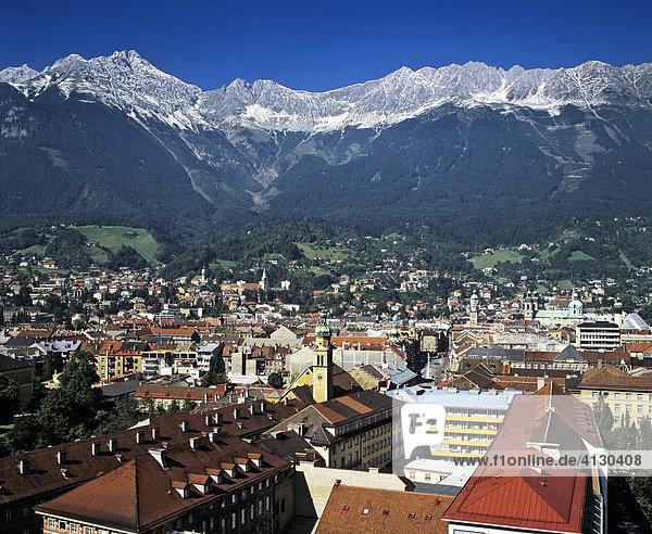 Panoramic view over Innsbruck  Karwendel Range  Inn Valley  Tyrol  Austria