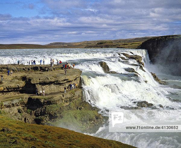 Gullfoss Waterfall  Hvítá River  Haukadalur  Iceland