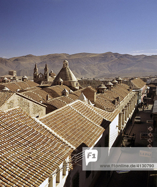 Rooftops and cathedral  Potosi  Bolivia