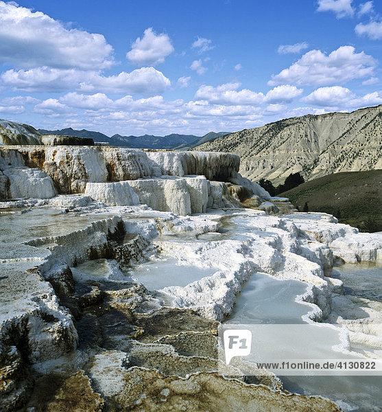 Sinterterrassen bei Mammoth  Yellowstone-Nationalpark  Rocky Mountains  Wyoming  USA