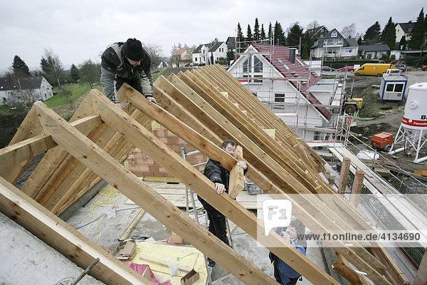 zimmerleute bauen den dachstuhl f r eine zweifamilienhaus. Black Bedroom Furniture Sets. Home Design Ideas