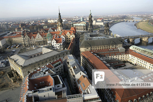 View from the Frauenkirche church to the baroque old town and river Elbe  Dresden  Saxony  Germany