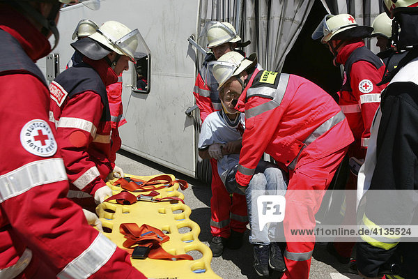 Catastrophe exercise of the Augsburg fire department in cooperation with the Bavarian Red Cross and the DLRG  Ausgburg  Bavaria  Germany