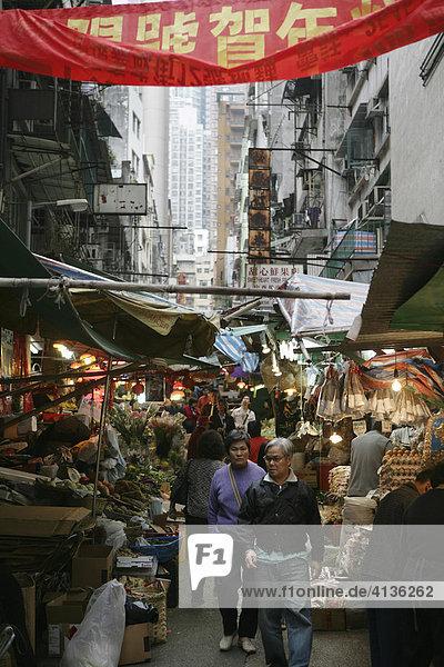 Lebensmittelmarkt in den engen Gassen  Soho  Hongkong  China