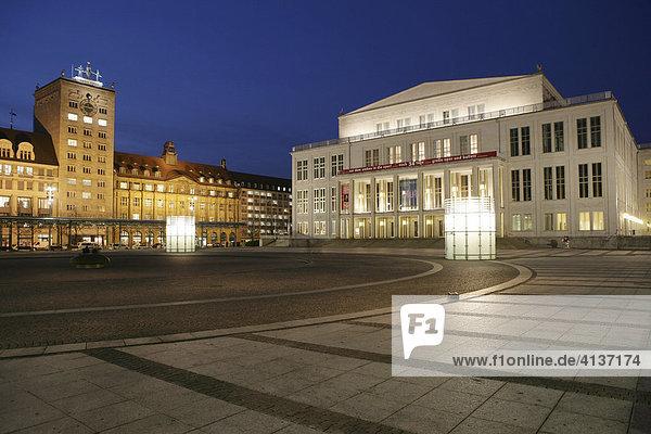Opera house at Augustusplatz. Krochhaus  left  Leipzig  Saxony  Germany