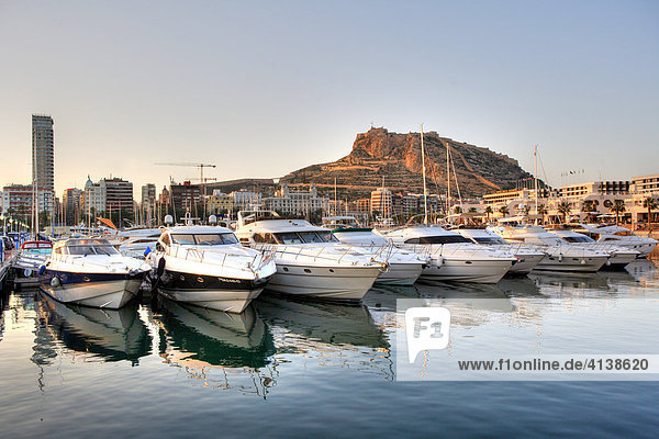 Spain  Alicante : View over the port to the Monte Benacantil