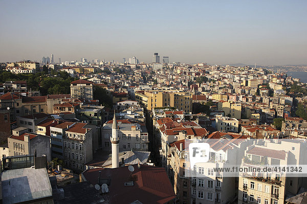 View from Galata Tower over the Galata and Beyoglu districts  Istanbul  Turkey