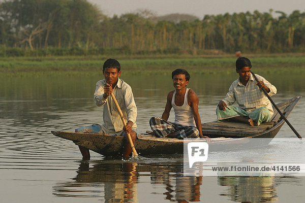 Indische Männer paddeln in Kahn auf einem Fluss im Ganges-Delta  Westbengalen  Indien