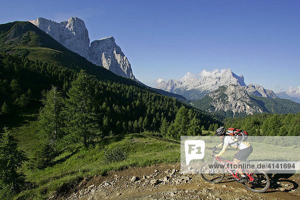 Mountainbikerin mit Monte Pelmo und Civetta im Hintergrund  Dolomiten  Italien