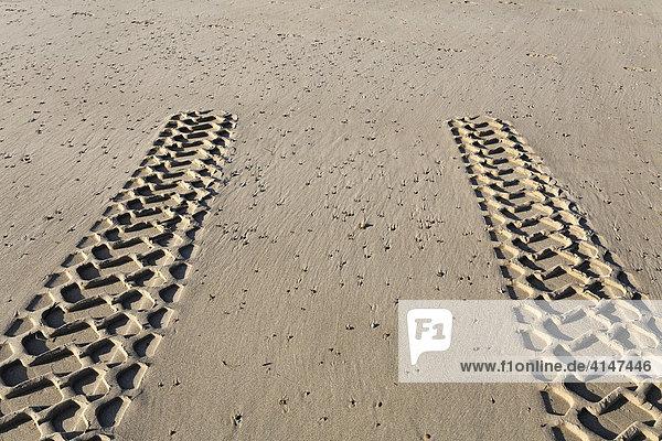 Reifenspuren eines Allradfahrzeuges enden im Sand  Nordseestrand  Zoutelande  Walcheren  Zeeland  Niederlande  Europa