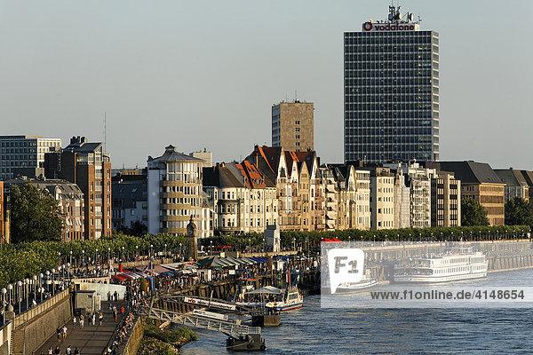 Cityscape Duesseldorf  banks of Rhine  NRW  Germany