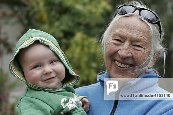 A baby with its grand-grandmother