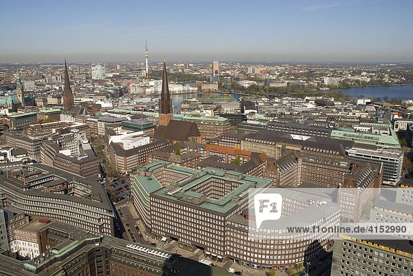 Arial view over the city centre of Hamburg. Sprinkenhof and Chilehaus buildings lying in the foreground  Hamburg  Germany