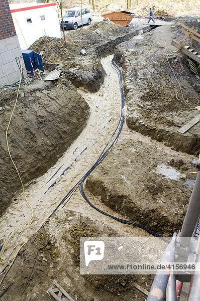 Bau eines Krankenhauses  Kabelschächte Erdarbeiten  Gelsenkirchen Nordrhein-Westfalen Deutschland