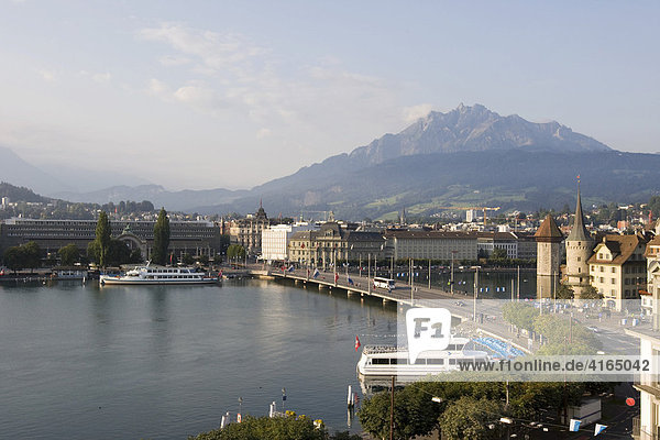 View onto the Pilatus and the Lake Lucerne  Lucerne  canton Lucerne  Switzerland