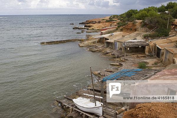 Fishing boats near Cala Boix  Ibiza  Balearen  Spanien