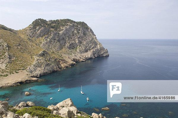 Sailing yachts near Cape Fomentor  Mallorca  Balearic Islands  Spain  Europe
