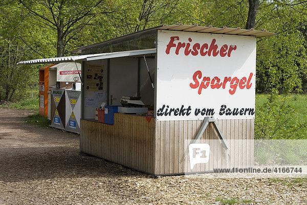 Verkaufsstand für Spargel  Bergstraße  Hessen  Deutschland  Europa Verkaufsstand für Spargel, Bergstraße, Hessen, Deutschland, Europa