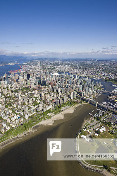 North False Creek and West End  Burrad Bridge  Vancouver  British Columbia  Canada  North America