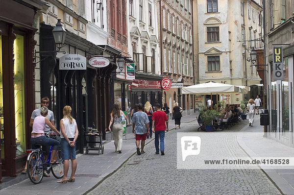 Alter Platz Stari trg in Altstadt von Ljubljana ( Laibach ) - Slowenien