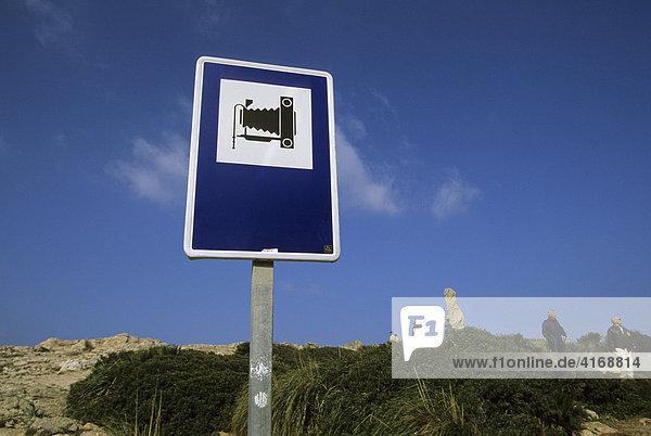 Mallorca Formentor Mirador Mal Pas Schild Sehenswürdigkeit