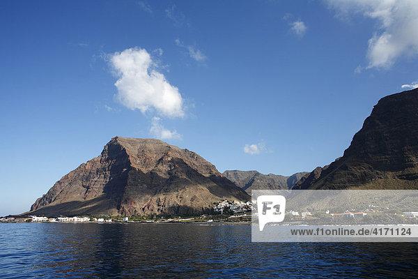 Valle Gran Rey  Blick von Boot  La Gomera  Kanaren  Spanien