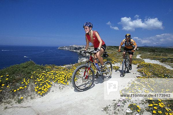 Mountain bikers  Bonifacio  Corsica  France