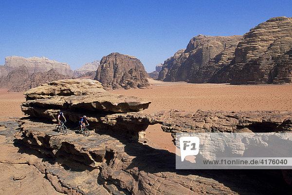 Mountain biker  Wadi Rum  Jordan  Middle East