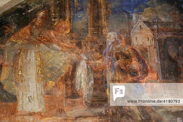 Wandgemälde im Franziskanerkloster Dubrovnik  Kroatien  Europa