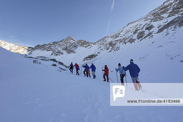 Aufstieg zum Glasfelderkopf 2271 m von dem Prinz Luitpold Haus  Bayern  Deutschland