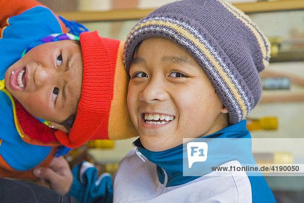 Two children in Sapa  Vietnam  Asia