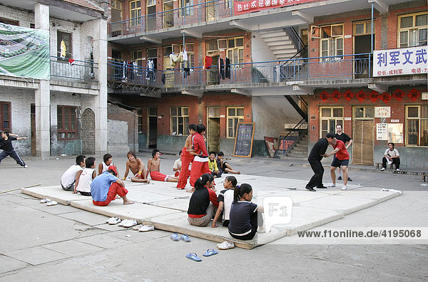 Pupils training in the schoolyard  Wuzhi Gong Fu School  Henan Wuzhi China