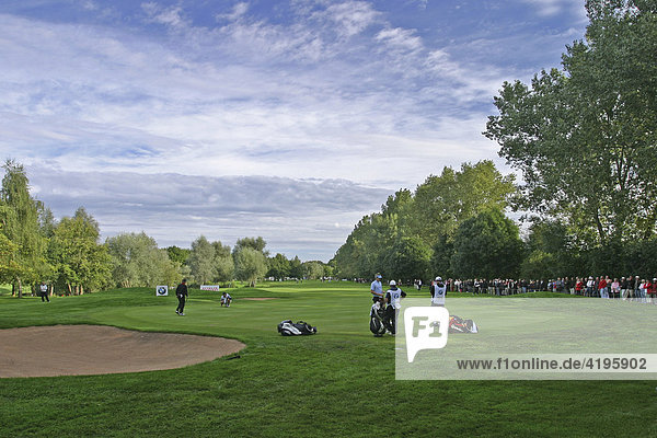 Golf course and players at the BMW International Open in Munich Nord Eichenried