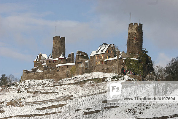 The Castle Thurandt on the Top of the small town Alken  Rhineland-Palatine  Germany
